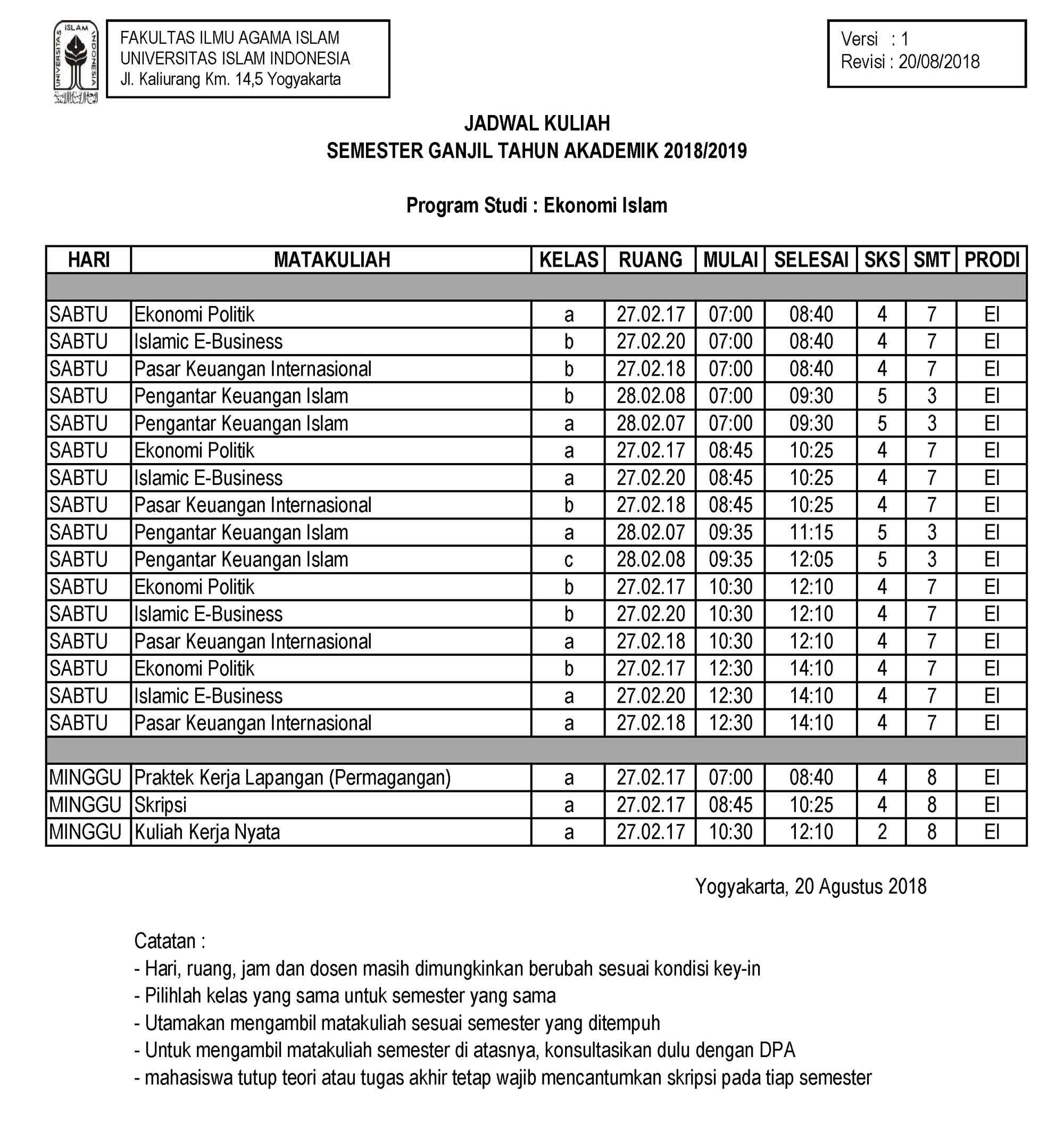 Jadwal Kuliah Semester Ganjil 2018/2019 PSEI