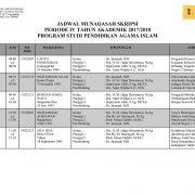 Jadwal Munaqasah PSPAI Periode IV 2017/2018 – Selasa