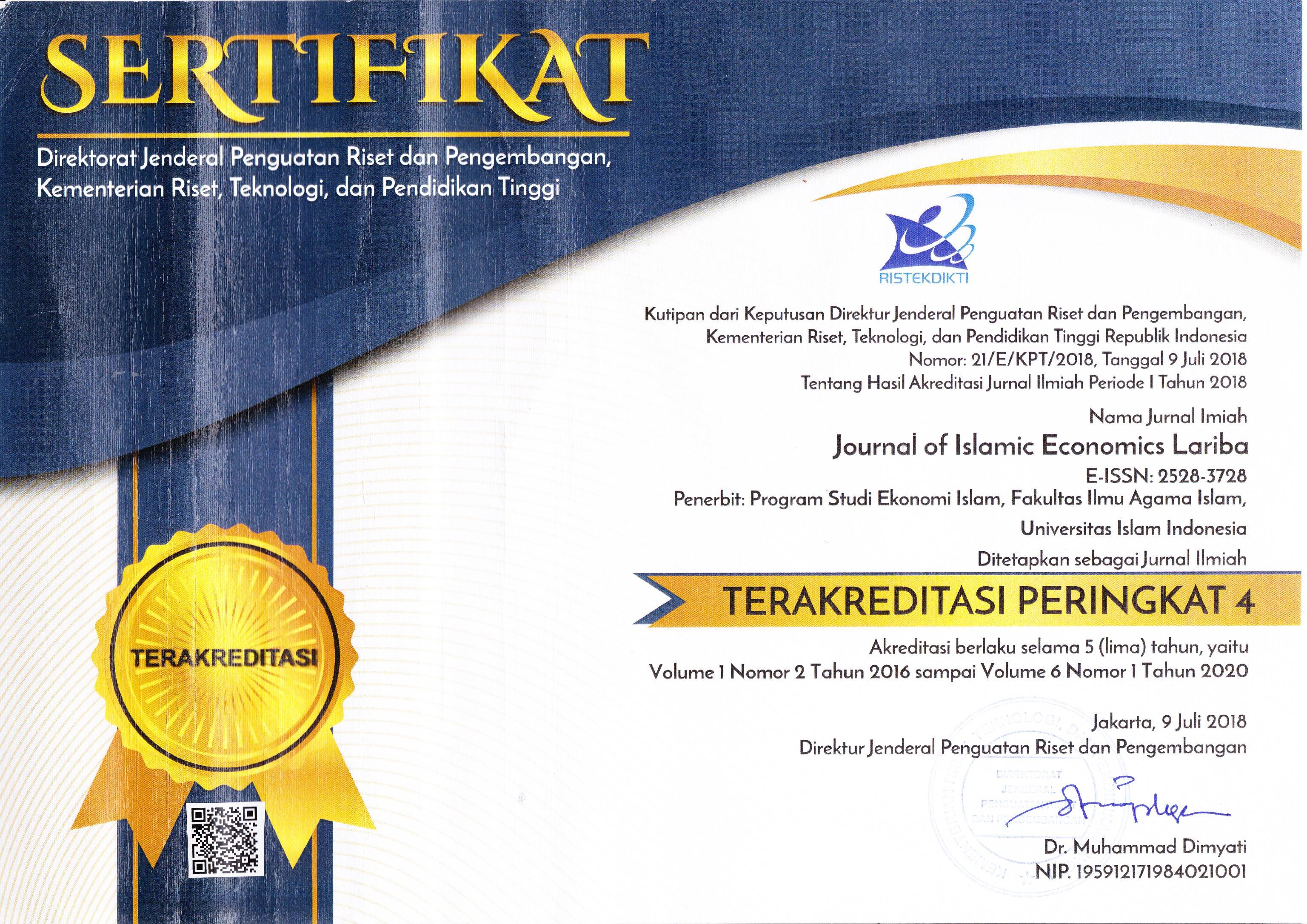 Sertifikat Terakreditasi Peringkat 4 Journal of Islamic Economics Lariba